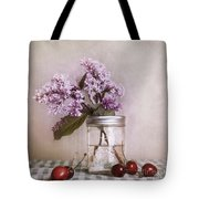 Lilac And Cherries Tote Bag