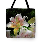 Lilies In The Rain Tote Bag