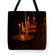 Lit Candles In A Church Tote Bag