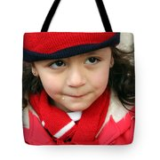 Little Girl In Red Tote Bag