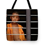 Little Monk In The Window  Tote Bag