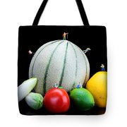 Little People Hiking On Fruits Tote Bag