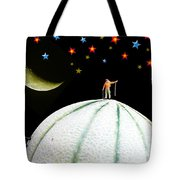 Little People Hiking On Fruits Under Starry Night Tote Bag