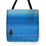 Little Red Sailboat Giant Blue Sea Tote Bag