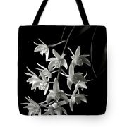 Little White Orchids In Black And White Tote Bag
