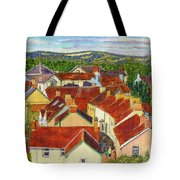 Painting Llandovery Roof Tops Tote Bag