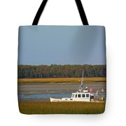 Lobster Boat Along Maine Tote Bag