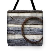 Log Cabin And Barbed Wire Tote Bag