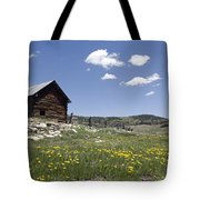 Log Cabin On The High Country Ranch Tote Bag