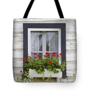 Log Home And Flower Box In The Window Tote Bag