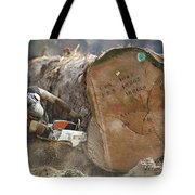 Logger Cutting Trunk Of Rainforest Tote Bag