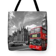 London Big Ben And Red Bus Tote Bag