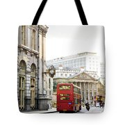 London Street With View Of Royal Exchange Building Tote Bag by Elena Elisseeva