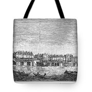 London: Waterfront, 1750. /nlondon Bridge And Dyers Wharf. Wood Engraving After A Painting By S. Scott, C1750 Tote Bag