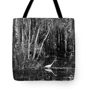 Lone Egret Black And White Tote Bag