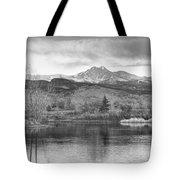 Longs Peak And Mt Meeker Sunrise At Golden Ponds Bw  Tote Bag