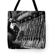 Looking Over Guns In Guard Room Tote Bag
