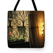 Looking Through Iron Filagree Window Tote Bag