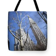 Looking Up Through Trees At Skyscrapers Tote Bag by Axiom Photographic
