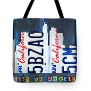 Los Angeles Skyline License Plate Art Tote Bag