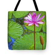 Lotus Blossom And Water Lily Pads Tote Bag
