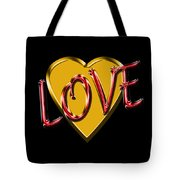 Love Gold And Red Tote Bag