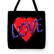 Love In Blue And Red Tote Bag