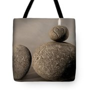 love you forever - An engraved message gives light to a stone heart Tote Bag