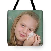 Lovely Girl With Pet Tote Bag