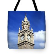 Low Angle View Of A Clock Tower, Albert Tote Bag