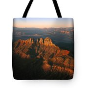 Low Sunlight Shines On Mountains Tote Bag