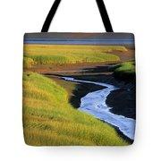 Low Tide At Sunset, Minas Basin, Kings Tote Bag by Ron Watts