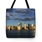 Lower Manhattan At Sunset, Viewed From Tote Bag
