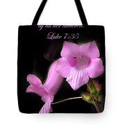 Luke 7 35 Pink Penstemon Flower Tote Bag