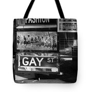 Lunch Time Between Fashion Ave And Gay St In Black And White Tote Bag by Rob Hans