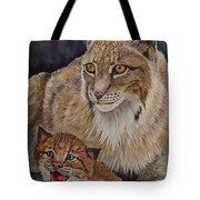 Lynx Mom And Baby Tote Bag
