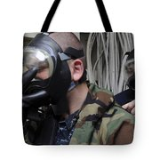 Machinist's Mate Helps Another Sailor Tote Bag