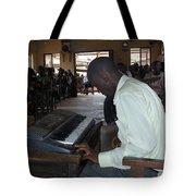 Madona Playing Piano In Nigerian Church Tote Bag