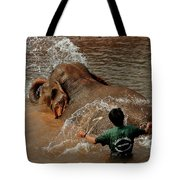 Bathing An Elephant Laos Tote Bag