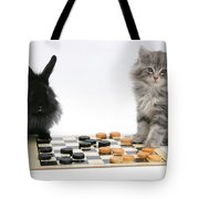 Maine Coon Kitten And Black Rabbit Tote Bag
