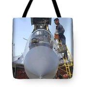 Maintainers Prepare A Sukhoi Su-30 Tote Bag