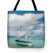 Maldivian Boat Dhoni On The Peaceful Water Of The Blue Lagoon Tote Bag