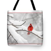 Male Cardinal In Snow Tote Bag