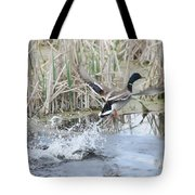 Mallard Duck Flying Tote Bag