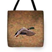 Mallard Duck In Flight Tote Bag