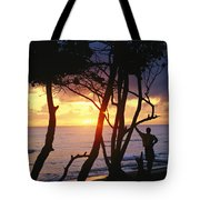 Man And Surfboard At Sunrise, Cabarete Tote Bag