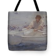 Man In A Rowing Boat Tote Bag