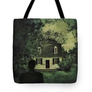Man In Front Of Cottage Tote Bag