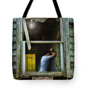 Man In Ruined House Tote Bag