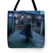 Man In Top Hat And Cape On Cobblestone Street Tote Bag